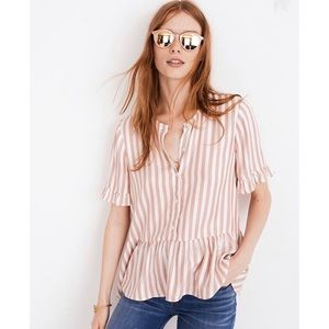 Madewell Studio Ruffle-Hem Top in Cecilia Stripe